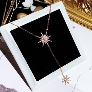 Nouveau mode design de luxe super brillant diamant zircon joli joli collier pendentif fleur soleil pour les femmes d'argent d'or
