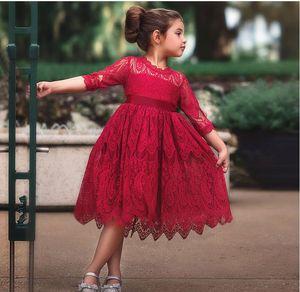 2019 neue Kinderkleid Herbst und Winter Kinder Spitze Prinzessin Kleid Rundhalsausschnitt Fliege Kleid Mädchen Kleidung online kostenlos