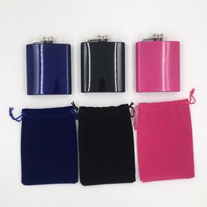Высококачественный логотип Customzied Mini Pocket 6oz герметичная фляжка из нержавеющей стали 18/8 с бархатным мешком