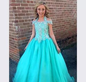 Sevimli Bir Çizgi Kızlar Pageant elbise Prenses Halter Beadeds Çocuk Yürüyor Parti Balo Abiye Pretty Küçük Çocuk Için