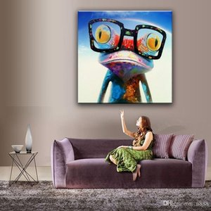 HD Cartoon Imprimé decores abstrait animal heureux grenouille mur peinture à l'huile Art Home Decor sur toile de haute qualité multi Tailles A87 200313