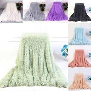 Fofo Fur Faux Blanket Double-layer Fluffy Lance Sofá Blanket 130 * 160cm Inverno portátil macio Quilt Escritório sesta Cobertores
