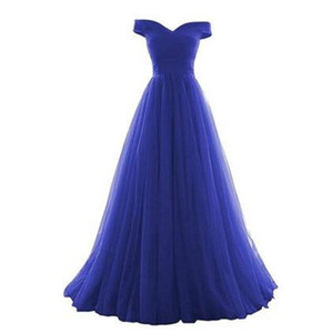 Elegantes vestidos de dama de honor de color azul real hasta el suelo Cintura imperio de tul Dama de honor Vestidos de novia de honor fuera del hombro