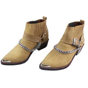 100% vaca botas de cuero genuino tobillo puntiagudo de punta de metal botas de motocicleta hombre punk botas de vaquero militar con cadenas, tamaños 38-46