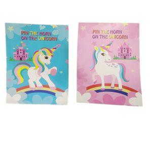 Unicorn Desen Sticker Karikatür Güzel Göz Maskesi Ile Paster Ev Süslemeleri Mavi Parti Hediyeler Renkli Zarif 8 5gh C1