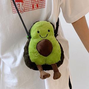 Green 아보카도 모양의 부대 여자 만화 봉제 인형 과일을 가방 숄더 몸 메신저 부대 여성 패션 핸드백