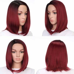 A C Synthetic Straight Bob Wigs Natural Hairline Fashionable 140g  Piece Good Quality Heat Resistant Fiber Color R2 -138 13inch