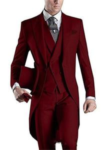 Men Suit Blue Tailcoat Men Party Groomsmen Suits In Wedding Tuxedos (Jacket+Pants+Tie+Vest) Terno Masculino Costume Homme Mariage
