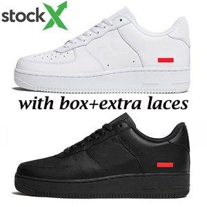 Nuevo nike air force 1 supreme llega 1 hombres mujeres zapatos de diseñador sup triple negro blanco con encaje extra moda hombre entrenador zapatillas deportivas tamaño 36-45