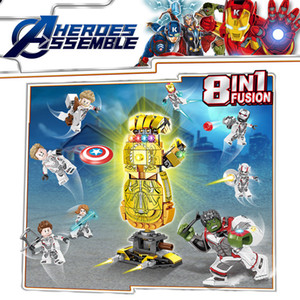 8 in 1 fusione Assemblare Infinity Gauntlet Avengers super eroe Iron Man Thor Capitan America Hulk Ant Man mini giocattolo figura Building Block