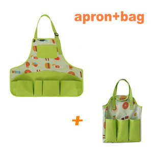 Green Kids gardening kit Washable Apron Bag Real Sand Gardening Dress up Clothes Role Play gardening kit Tools Packaging Bag and apron set