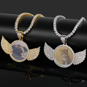 18K Gold Plated Custom Made Photo Angle Wings Medallions Pendant Necklace with 4mm Tennis Chain Zircon Men Hiphop Jewelry