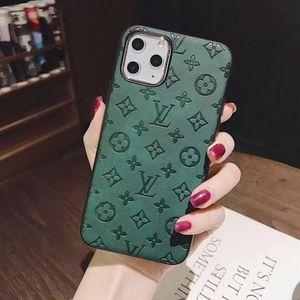 لحالة جديدة الهاتف لفون برو 11 ماكس X XS XR 11Pro 8 8plus 7 7plus مضاد للانزلاق تصميم زهرة خضراء جلدية الغلاف لمدة 11 فون A01