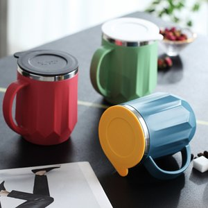 new Coffe Mugs Stainless Steel cup Milk Cups Portable Camping Cup with Lid Household Lovers Water bottles 400ml T2I51049