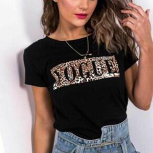 섹시한 표범 인쇄 T-셔츠 여성 O 짧은 소매 티셔츠 여름 숙녀 유행자 프린트 티셔츠 탑 옷