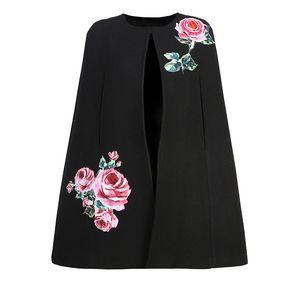 Yeni Bahar Tırnak Inci Gül Gentlwoman Bayan Yün Yelek Elbise + Pelerin kadın Iki parçalı Elbise Palto + kolsuz Elbiseler Siyah