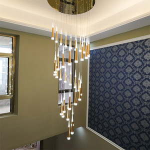 현대 원뿔 알루미늄 유성우 LED 샹들리에 조명 계단 샹들리에 천장 인테리어 조명 긴 계단 펜던트 조명