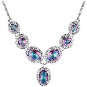 M Natural Mystic Rainbow TopAZ 925 Set di gioielli in argento sterling per le donne orecchino / pendente / collana / anello / braccialetto spedizione gratuita