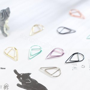 Drop Shape Paper Clips Metal Material Gold Silver Color Funny Kawaii Bookmark Office Shool Stationery Marking Clips 10pcs lot FFA3145