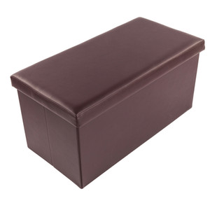 01L Practical PVC Leather Rectangular Practical Ottoman Footstool Poufs Storage Cabinet Home Bedroom Brown In Stock