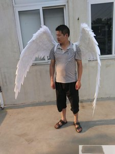 Disfrazados hermosas blancas alas de plumas de ángel rojo de la historieta de la manera del shooting Muestra boda traje de los apoyos de Cosplay del juego