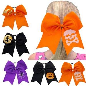 17 * 17 CM Niños Corbatas Bowknot Bandas para el cabello Halloween Big Bow Cuerda para el cabello Niñas Scrunchies Cráneo Calabaza Murciélagos Anillo para el cabello impreso Accesorios para el cabello M392