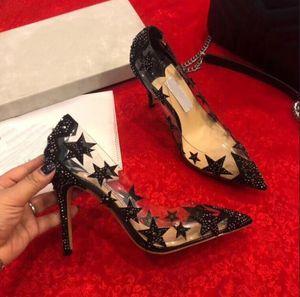 2019 новые прозрачные ПВХ сандалии на высоком каблуке, модные заостренные наконечники с черными алмазными хрустальными туфлями, сексуальные пятизвездочные буровые насосы для женщин