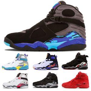 2019 8 8s Chaussures de basket-ball Hommes Aqua CHROME Saint Valentin COUNTDOWN PACK SOUTH BEACH blanc Aqua Hommes Chaussures de sport d'athlétisme