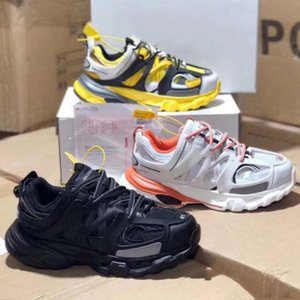 Top Quality Mulheres Mens Sapatos Casuais Faixa de Lançamento 3.0 Tess Gomma Maille Amarelo Areia Tiple Preto 17FW Triple S tênis de Plataforma Casuais