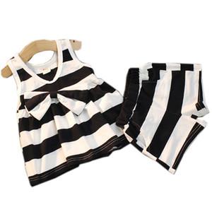 bambini vestiti firmati ragazze estate bambino Toddler fiocco a righe top Abiti 100% Vestiti Abito corto in cotone Set B37