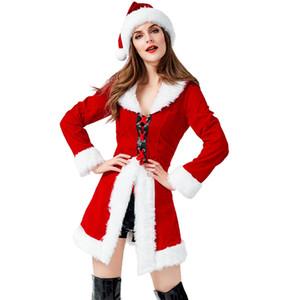calças SFIT Mamãe Noel Sexy Costume de Natal Role Play Outfits com capuz Traje para as Mulheres Fancy Dress Cosplay fêmea adulta Foliões
