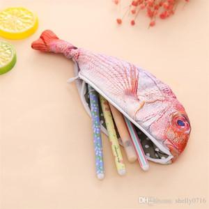 Regalos del caso del súper imitación Sea Fish lápiz niños statonery pencilcase bolso de la pluma de la novedad creativa Suministros Tela Escuela Pen Case