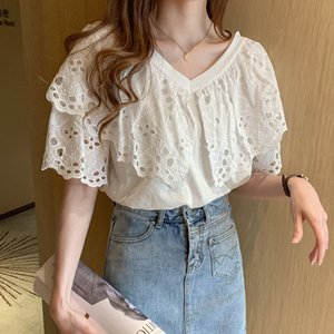 2020 Embroidery Lace Shirt Summer Women short Sleeve Cotton Girls hollow out Blouse Femme Casual White Tops Women Blouses