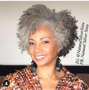 Silver Grey Kinky cauda cabelo encaracolado sopro pônei, Clipe 1pc 14 polegadas em extensão americano africano cabelo afro crespo encaracolado rabo de cavalo cinzenta humana
