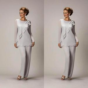 Pantalones de plata barata caliente gasa madre Juego para Madre de la fiesta de la boda del novio de señoras de las mujeres vestidos de noche BA2446