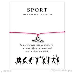Handmade I Love Gymnastics Charm-Armbänder für Frauen Männer Freundschaft Statement-Wünsche-Schmuck Geschenk mit Karte