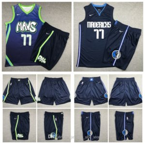 Majestic Vancouver DallasMavericks Dirk Nowitzki 77 Doncic 6 Porzingis traspirante pantaloni pantaloni della tuta Classic Basketball Shorts 02