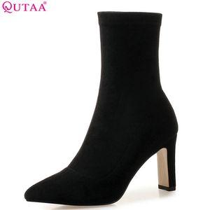 QUTAA 2019 Femmes Bottines Chaussettes Bottes Tout Match Plateforme Pointe Bout Carré Talon Haut Slip Sur Femmes Bottes Grande Taille 34-43