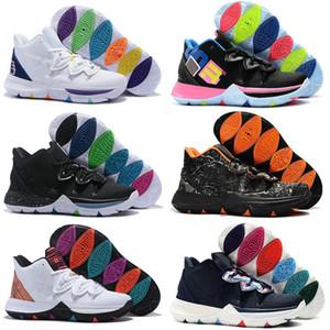 Горячие Kyrie Taco Boys Дети Спорт Баскетбол 5 Chaussures Обувь для детей Высокое качество Радуга Черно-белые спортивные кроссовки Размер 36-46