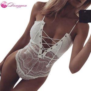 Dangyan Erotic Sexy Lingerie Pajama Open Crotch Teddy For Women Lace Porn Babydoll Bandage Tie Bustier Deep V Underwear Costumes