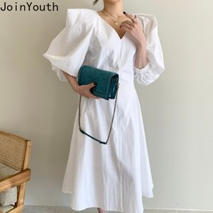 Joinyouth Elegant Dress New Arrival Chic Party Dresses Puff Sleeve Sexy V-neck Office Lady Vestidos Slim Fit Korean Clothes