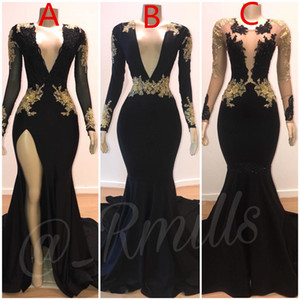 2020 Prom Dresses Mermaid Sexy Gold Lace Applique V-Neck mangas compridas Illusion High Side Dividir Trem da varredura elegante vestidos de noite formais