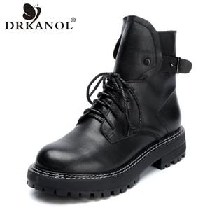 DRKANOL Autunno Inverno Stivali Donna Handmade Genuine Leather Case tacco Stivaletti donna Scarpe caldo della piattaforma