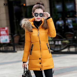 Needbo Down Jacket Mulheres Longo Inverno Down Coat Colar Pele Slim Oversize Doudoune Femme Casaco Casaco Lady Parka Long
