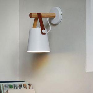 Lampada da parete paese americano in legno chiaro rustico minimalista Scandinavo Cafe Iron Belt Corridor Accanto alla lampada Arredamento industriale