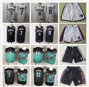 Mens BrooklynNetsThrowback Jersey Kyrie Kevin 7 Durant 11 Irving Basketball Shorts Basketball Jersey blqck navy white green