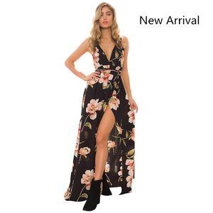 Nouveau Summer Maxi Dress Femmes Floral Print Dress V-Encolure Sans Manches Spaghetti Strap Dos Nu Side Split Sexy Robe Longue En Gros