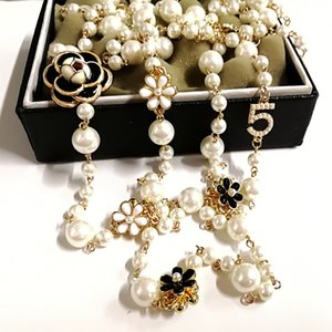 women korean Camellia Long pengdant pearls Necklace jewelry sautoir collier femme
