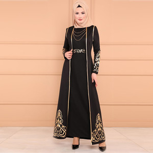 Longue robe d'abaya décontractée robe musulmane femme musulmane 2 pc et robe Kaftan Abaya Slim Party Robes Y525