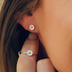 2020 Ins Trendy Bohemian Beach Wind Daisy Flower Sunflower Ring Earrings for Women Fashion Korean Design Summer Gifts